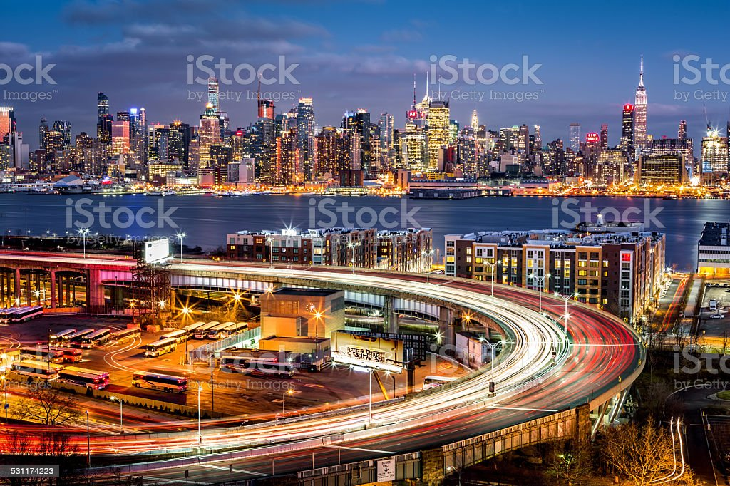 Traffic and light trails on The Helix stock photo