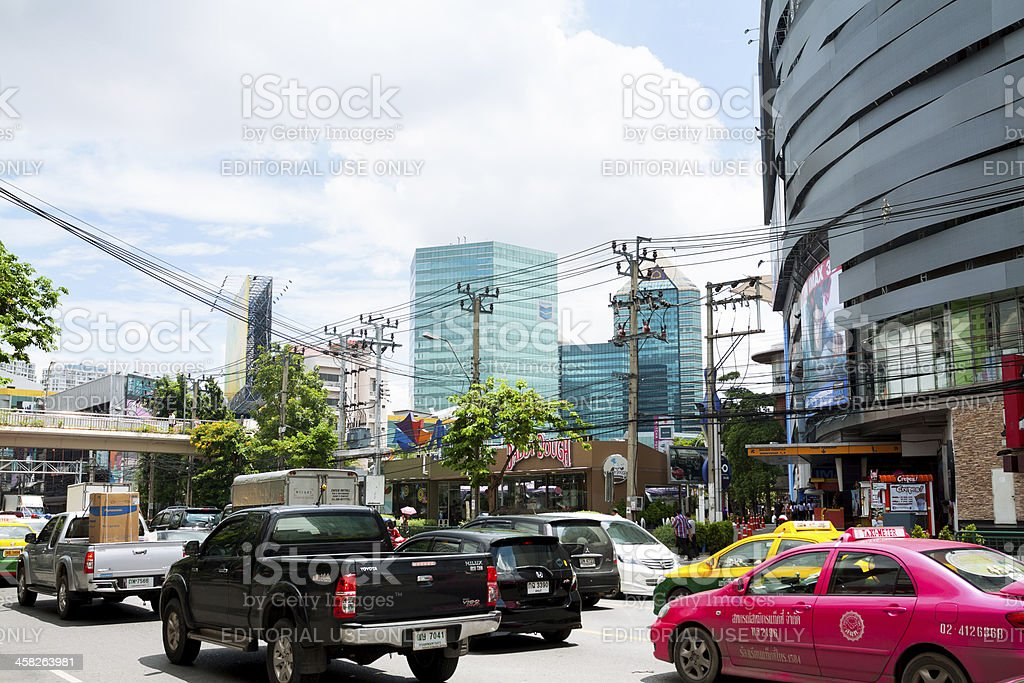 Traffic and modern architecture stock photo