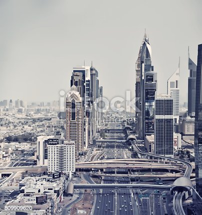 istock Traffic and Modern skyscrapers in Dubai, United Arab Emirates 809909620