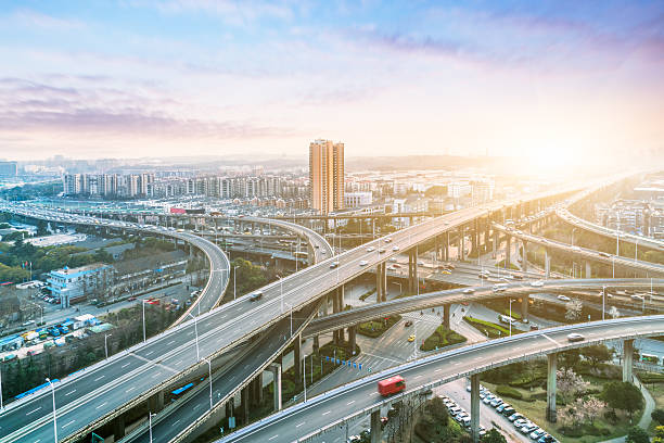 traffic and overpass aerial view of overpass in shanghai overpass road stock pictures, royalty-free photos & images