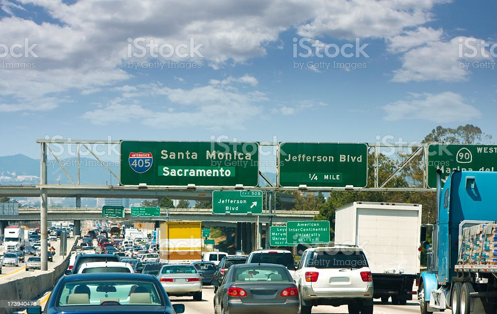 Traffic and street signs on an LA freeway royalty-free stock photo