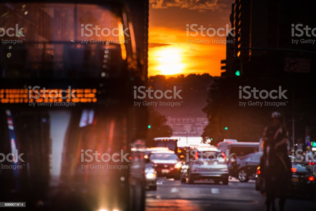 Traffic and Sunset Sky stock photo