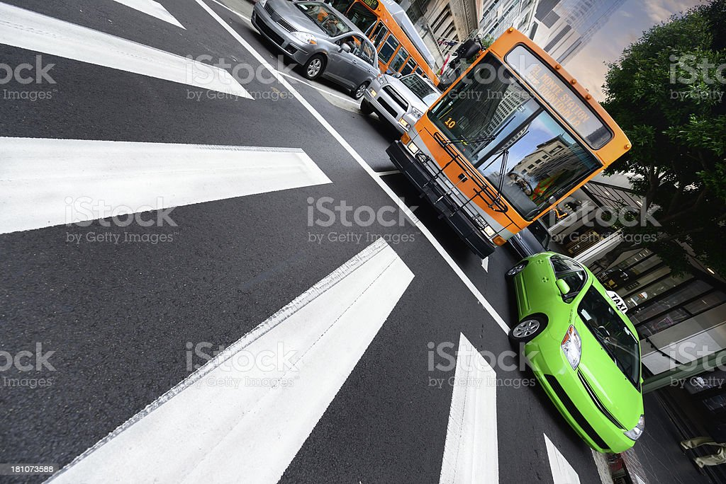 Traffic and zebra crossing royalty-free stock photo