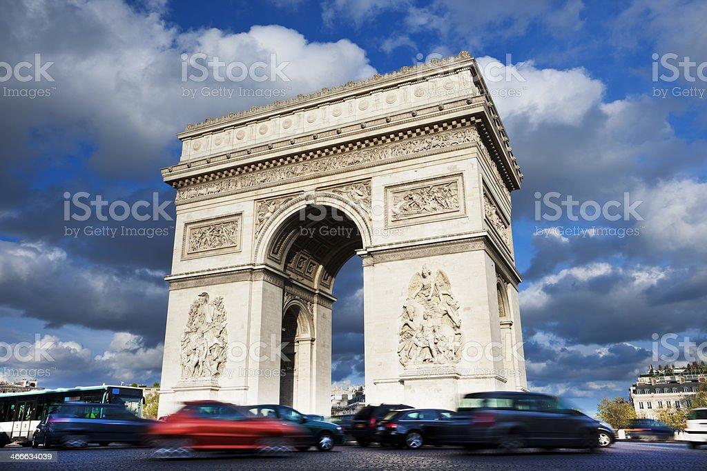 Traffic Around Arc de Triomphe in Paris, France royalty-free stock photo