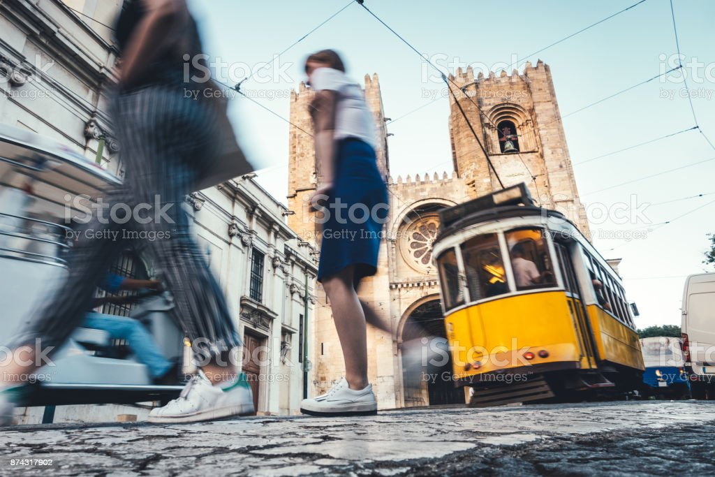 Traffic Around Lisbon Cathedral stock photo