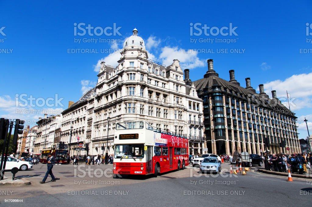 Traffic around Parliament stock photo