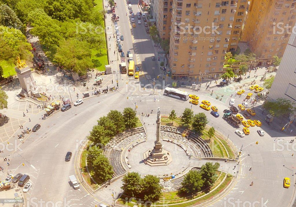 Traffic at Columbus Circle, NYC. stock photo