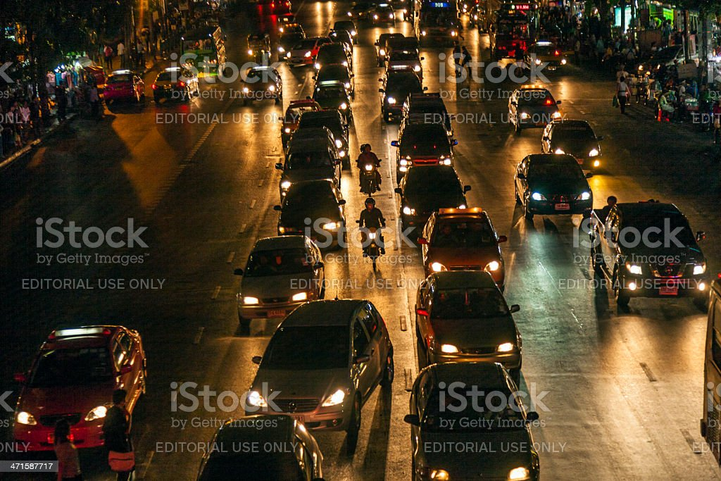 traffic at Main Road in Bangkok by night royalty-free stock photo