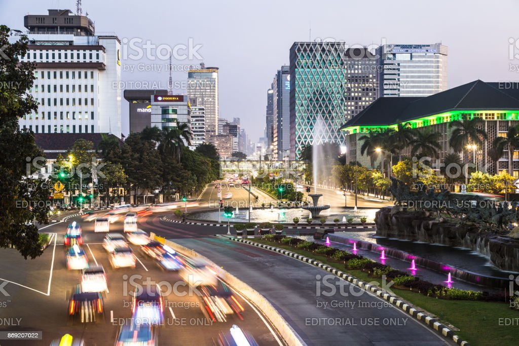 Traffic at night in Jakarta, Indonesia captial city stock photo