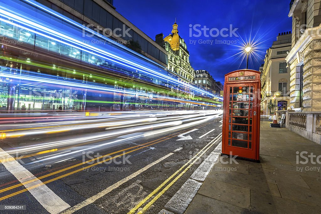 Traffic at night in London stock photo