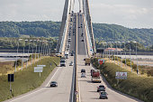 Le Havre - August 23, 2017: Traffic at Pont de Normandie, bridge over river Seine near Le Havre in France