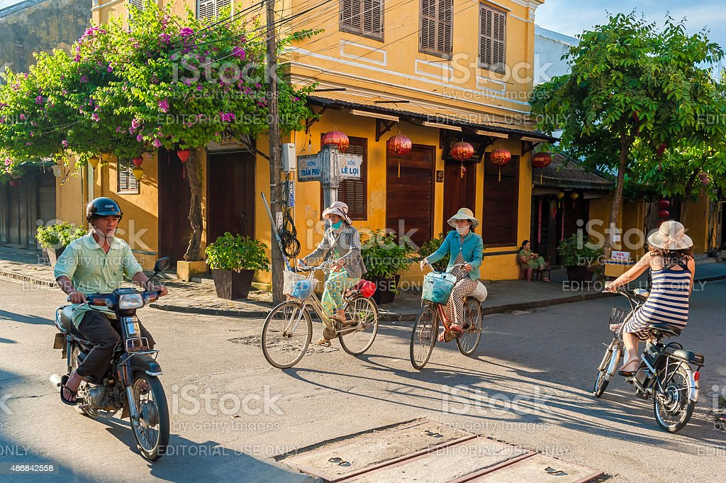 Traffic at the crosways in Hoi An, Vietnam stock photo