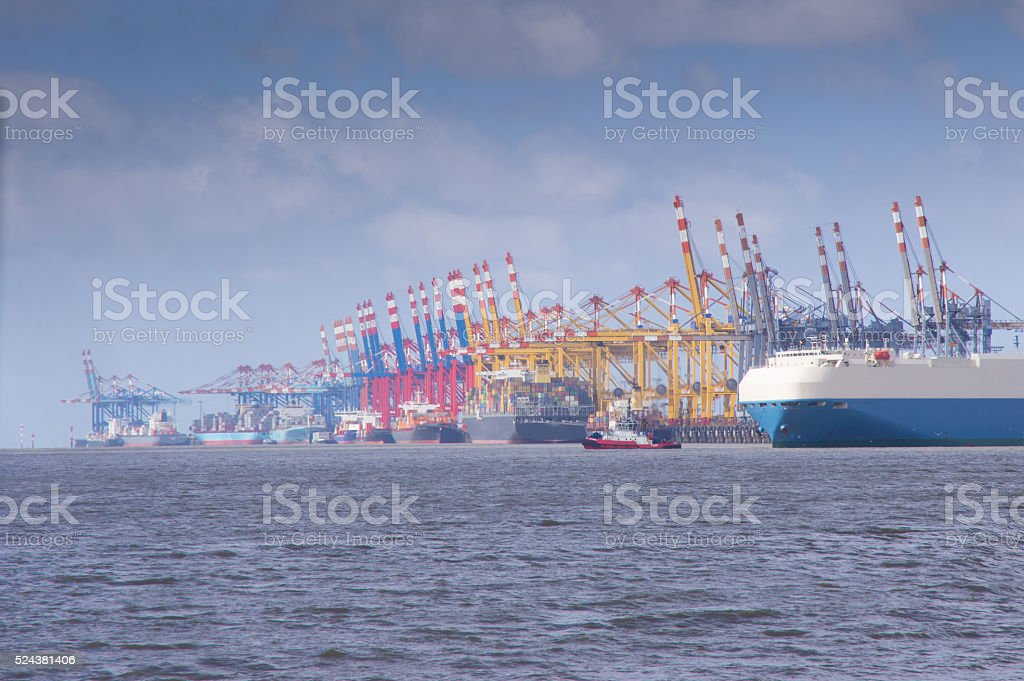 traffic at the deep sea port of bremerhaven stock photo