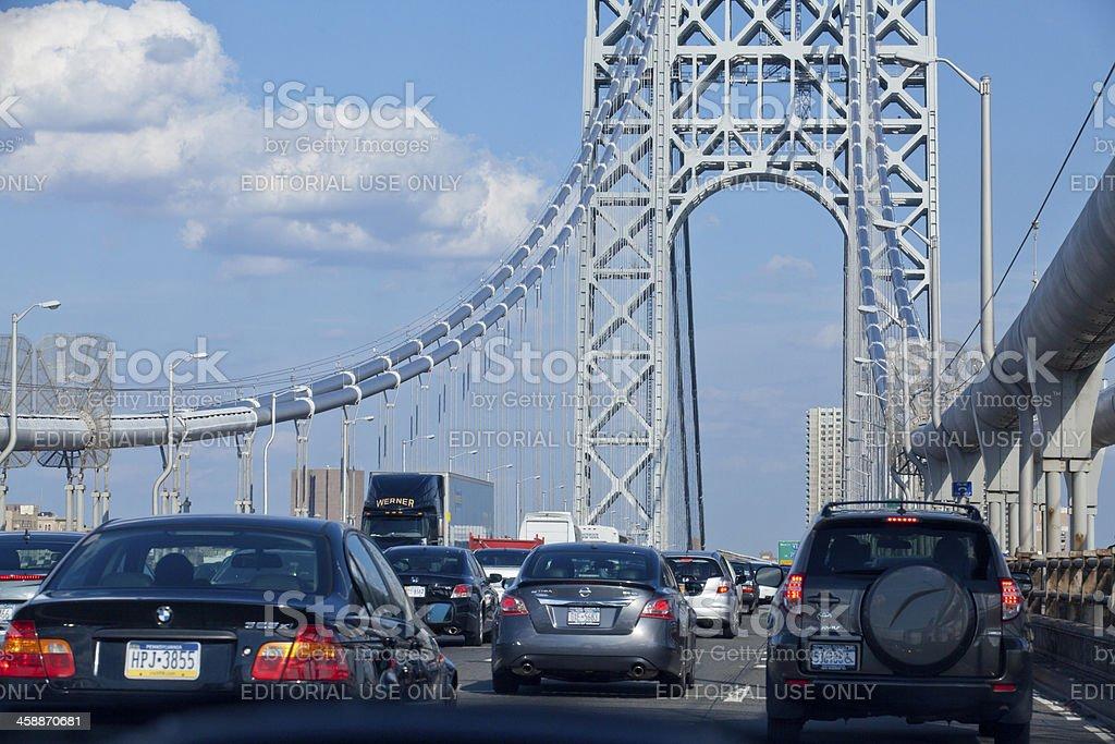 Traffic at the George Washington Bridge royalty-free stock photo