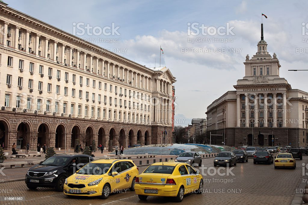 Traffic at the Independence square in Sofia, Bulgaria stock photo