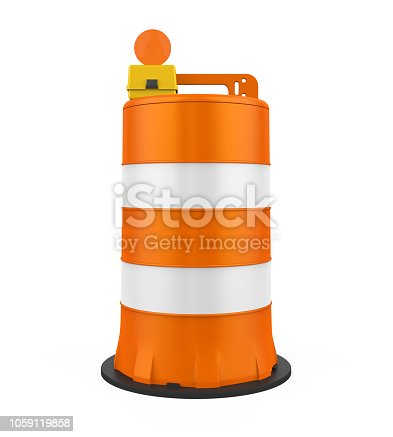 Traffic Barrel isolated on white background. 3D render