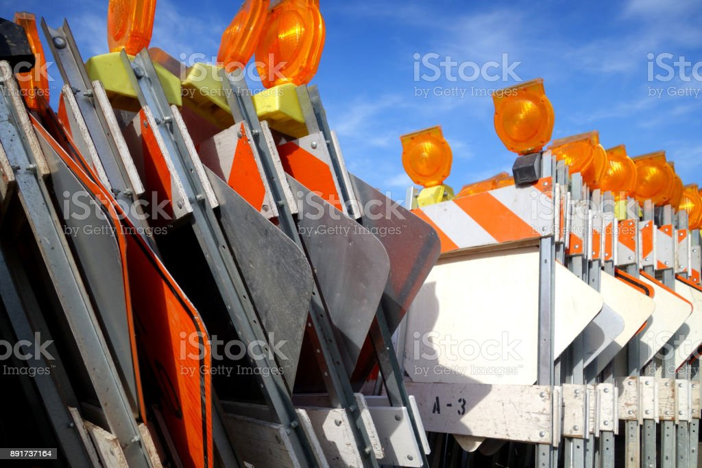 traffic barricades stock photo