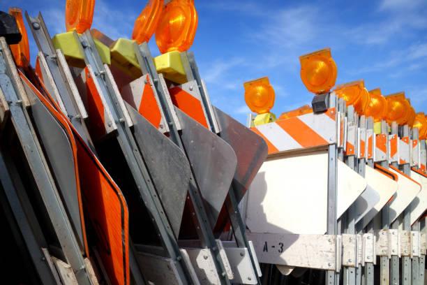 traffic barricades stock photo
