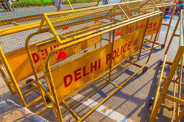 traffic barrieres at the india gate stock photo