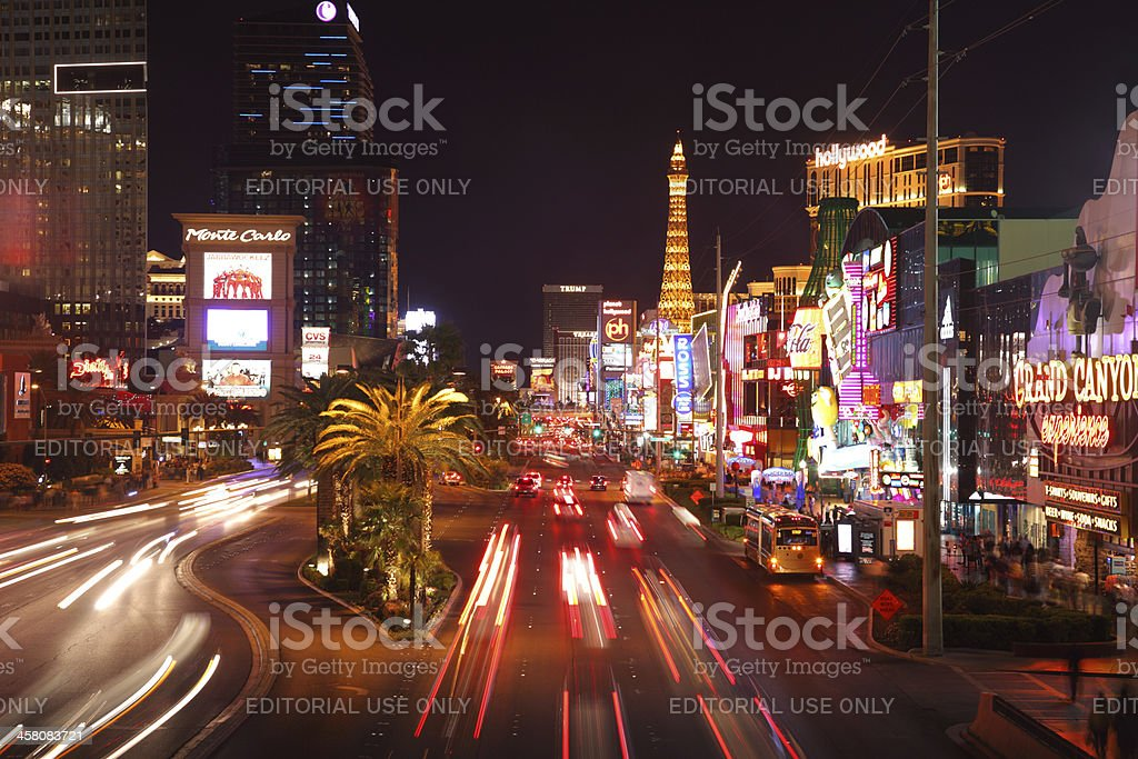 Traffic blurs along the Las Vegas strip stock photo