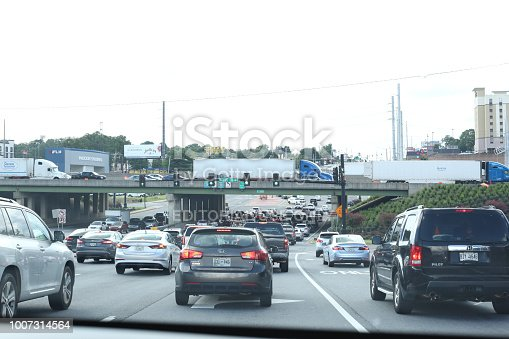 Traffic building up in Atlanta GA July 23, 2018