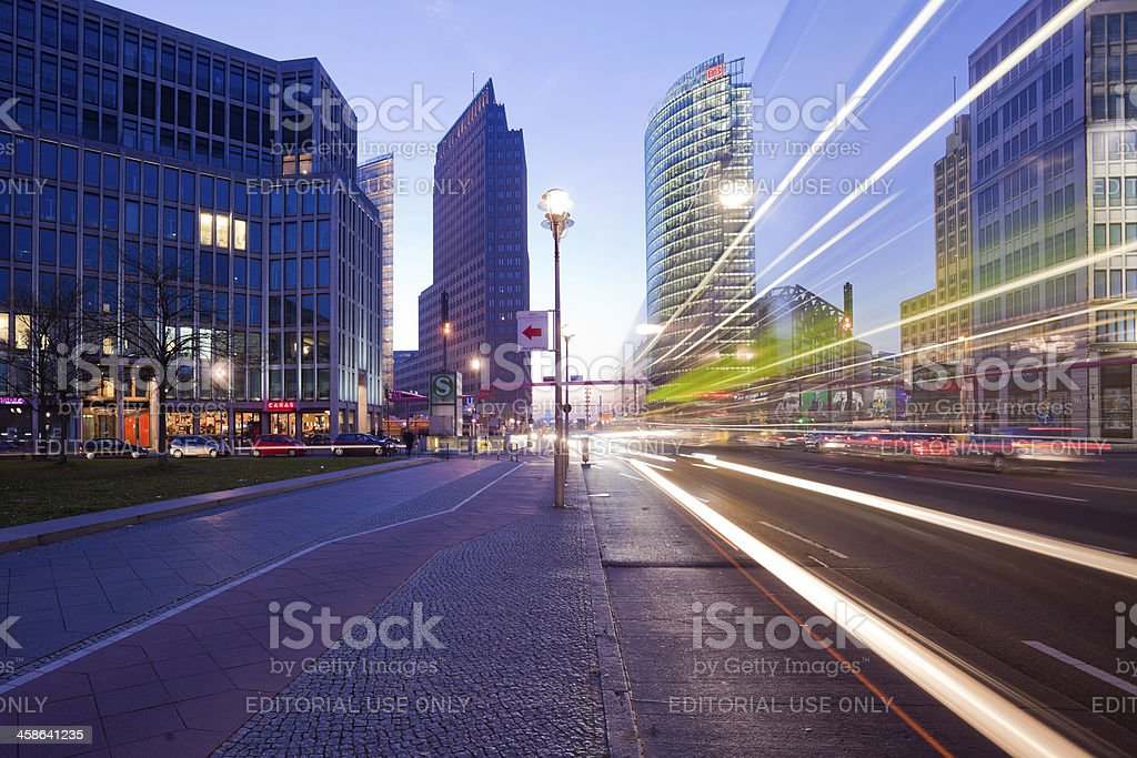 Traffic Bus and Cars in Postdamer Platz, Berlin royalty-free stock photo