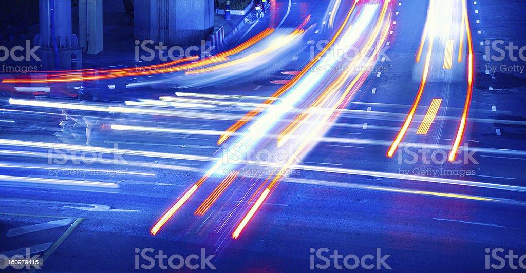 Traffic by Night in Bangkok, Thailand royalty-free stock photo
