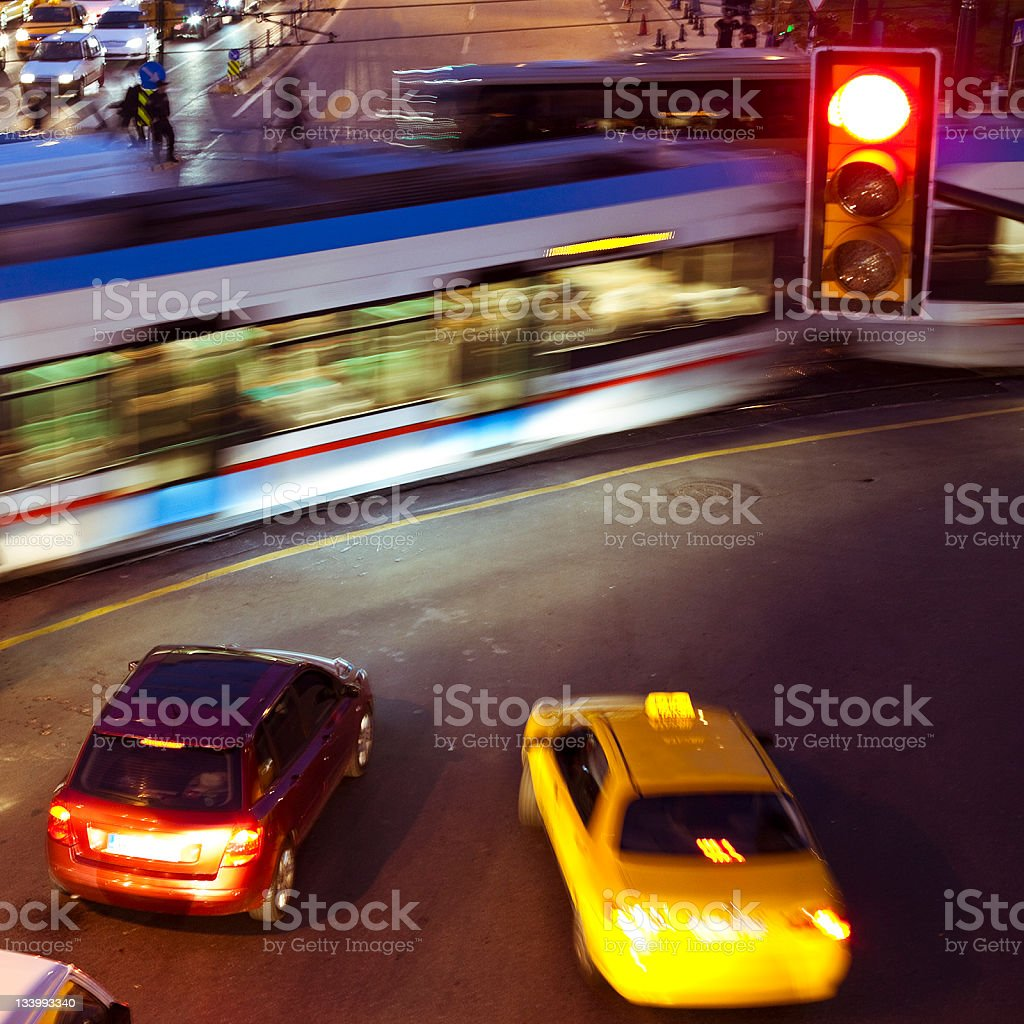 Traffic by night in Istanbul royalty-free stock photo