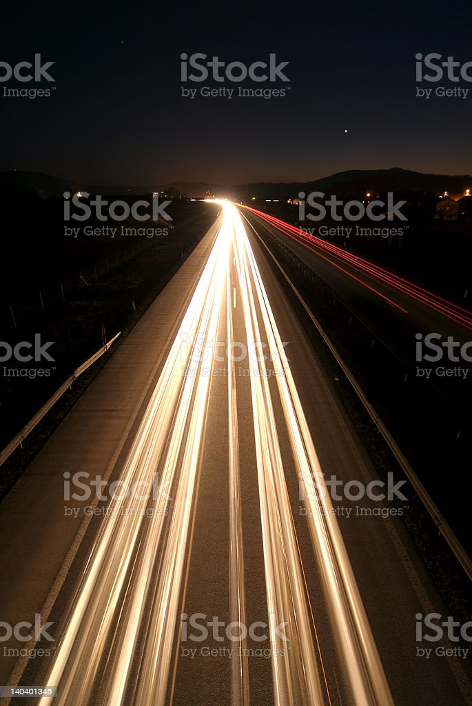 Traffic by night royalty-free stock photo