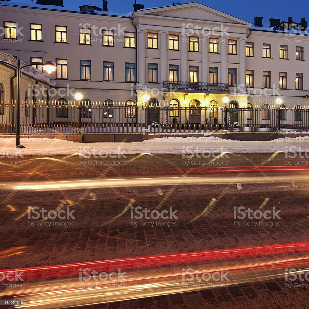 Traffic by Presidential Palace stock photo