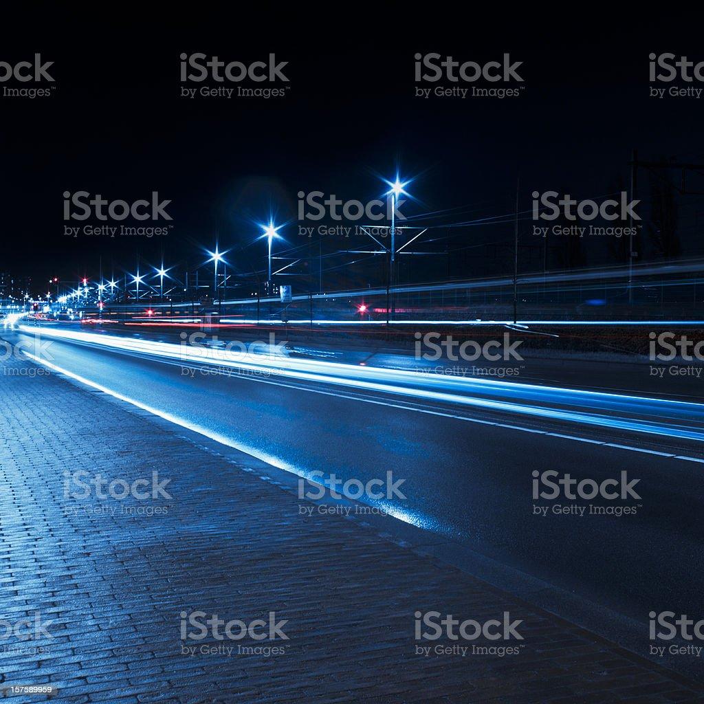 Traffic car light trails, Amsterdam royalty-free stock photo