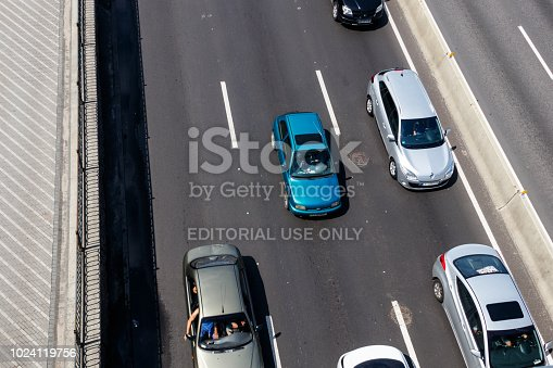 istock Traffic cars on the multi lane highway during rush hour 1024119756