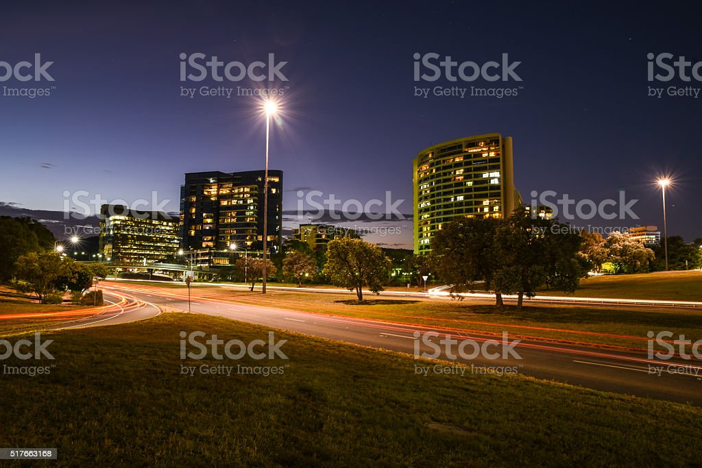 Traffic, cars, road, street lights, Canberra, Australian Capital territory stock photo