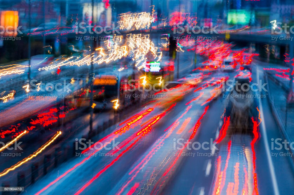 Traffic Chaos Background at night stock photo