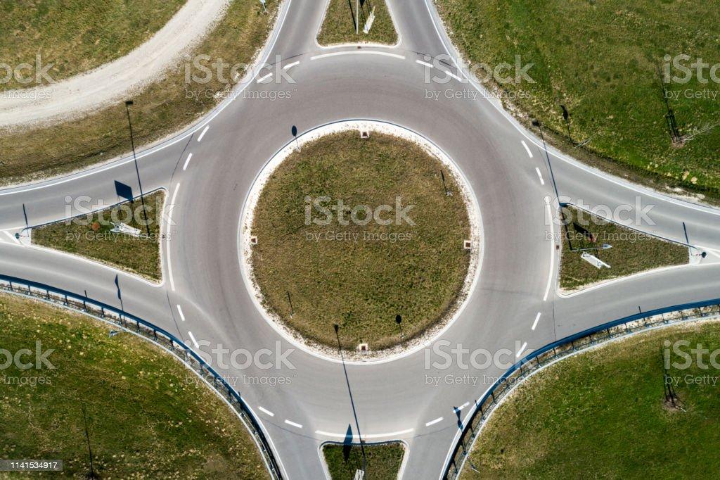 De cirkel van het verkeer direct van hierboven - Royalty-free Abstract Stockfoto