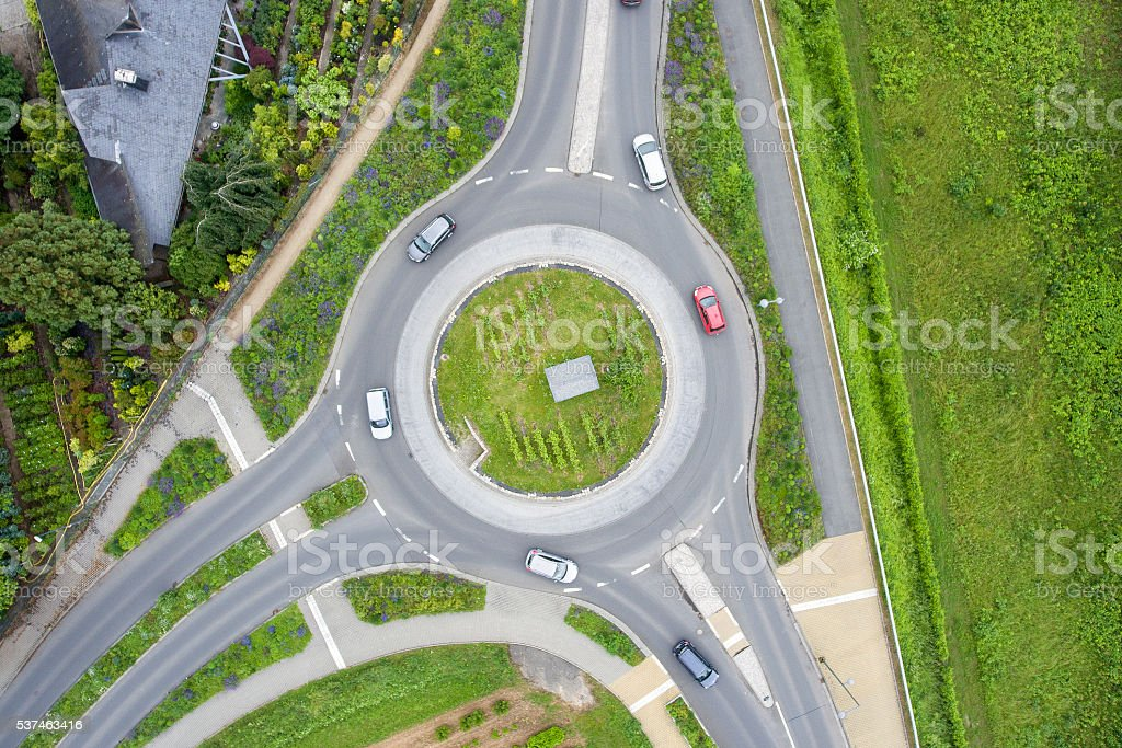 Traffic circle roundabout aerial view stock photo
