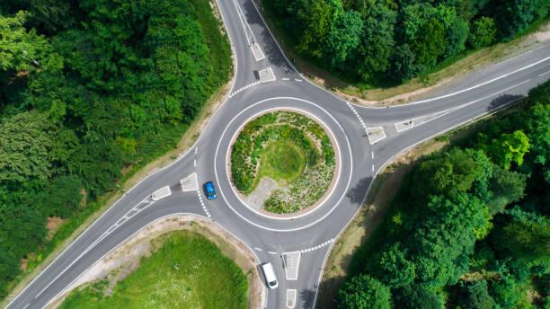 carrefour giratoire, rond-point - vue aérienne - rond point photos et images de collection