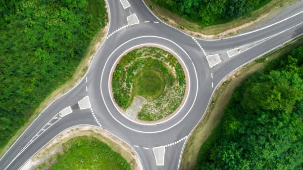 carrefour giratoire, rond-point - vue aérienne - rond point carrefour photos et images de collection