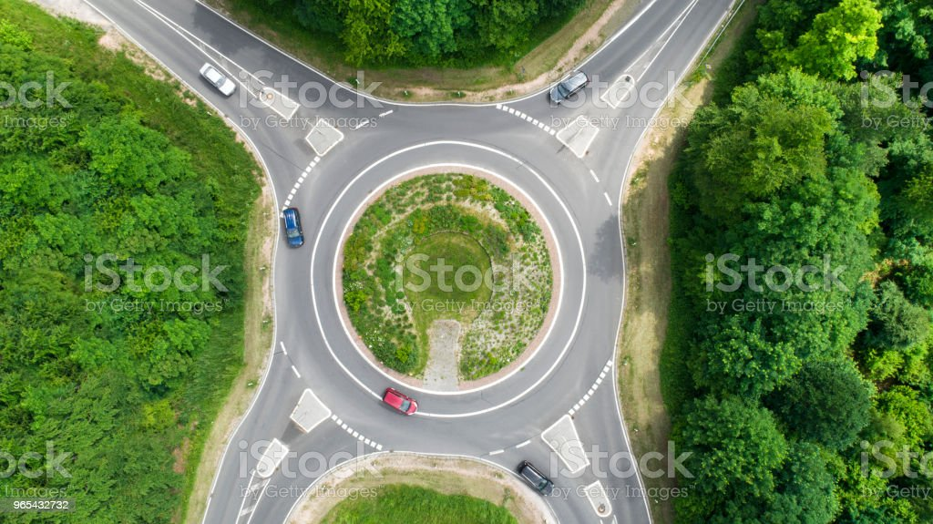 Traffic circle, roundabout - aerial view royalty-free stock photo