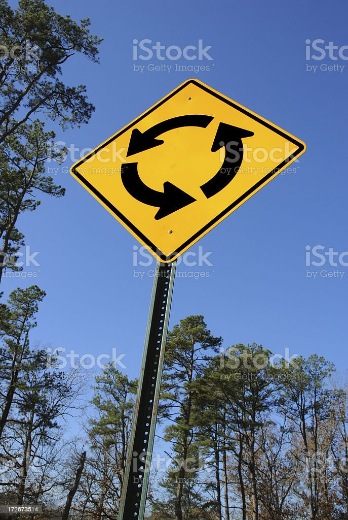 Traffic Circle Sign Against a Blue Sky and Trees royalty-free stock photo