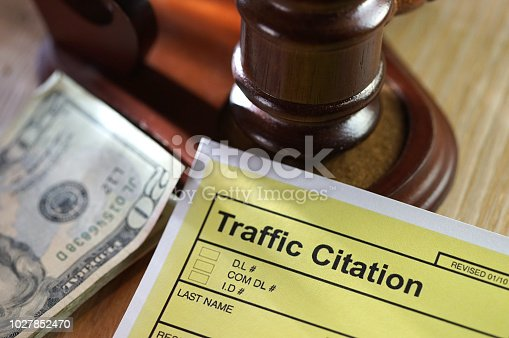 shot of traffic citation