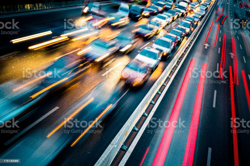 traffic city night stock photo
