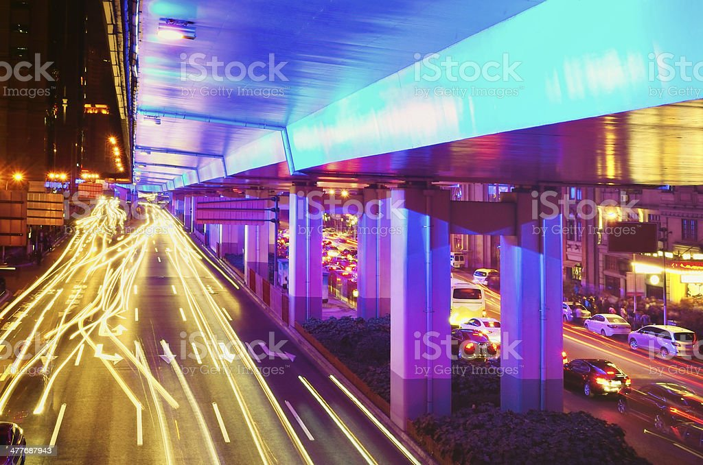 Traffic city night royalty-free stock photo