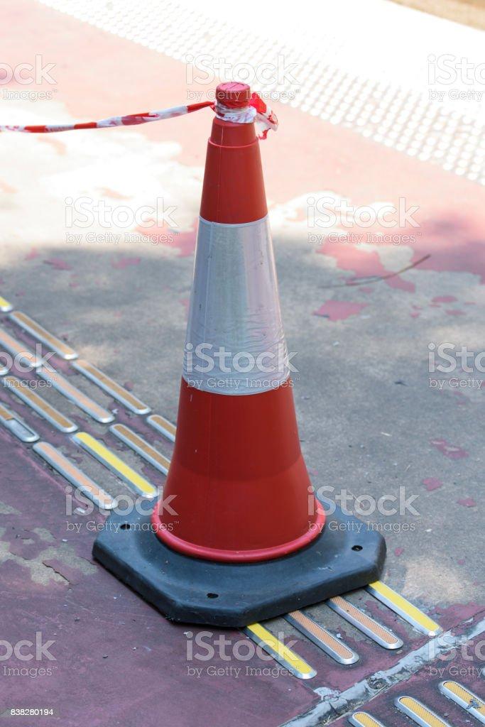 traffic con, white and orange stock photo
