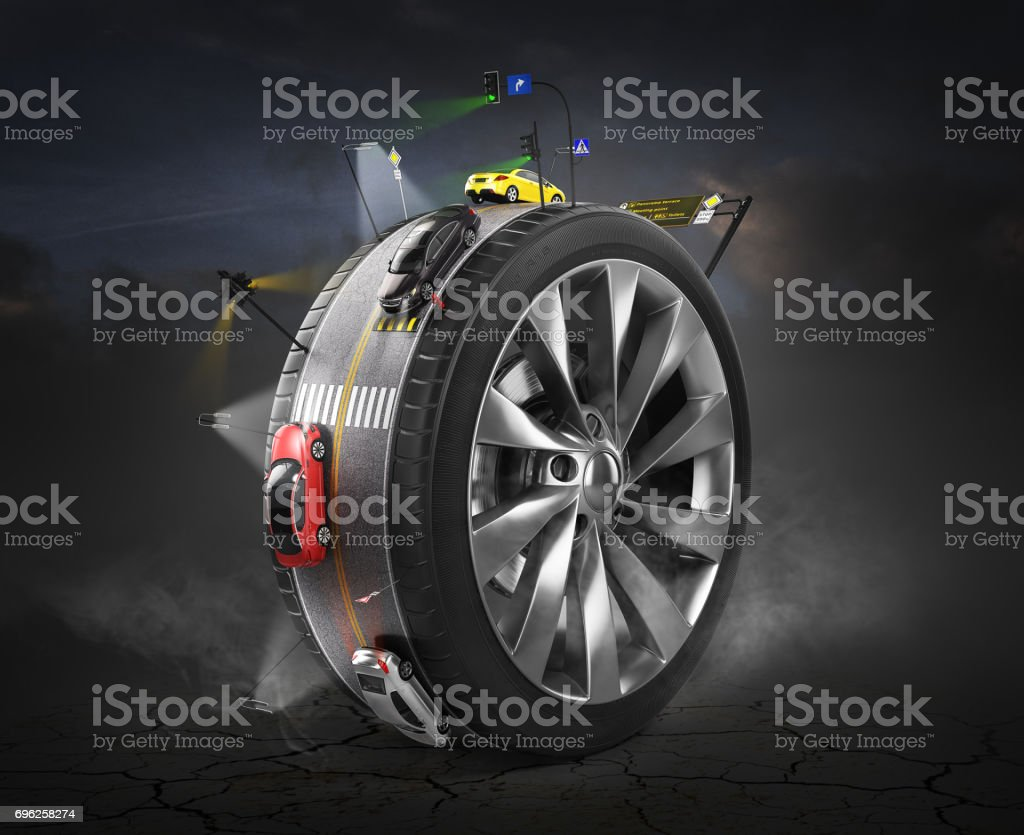 Traffic concept. Road with cars and signs on the wheel protector. Transport concept. 3d illustration stock photo