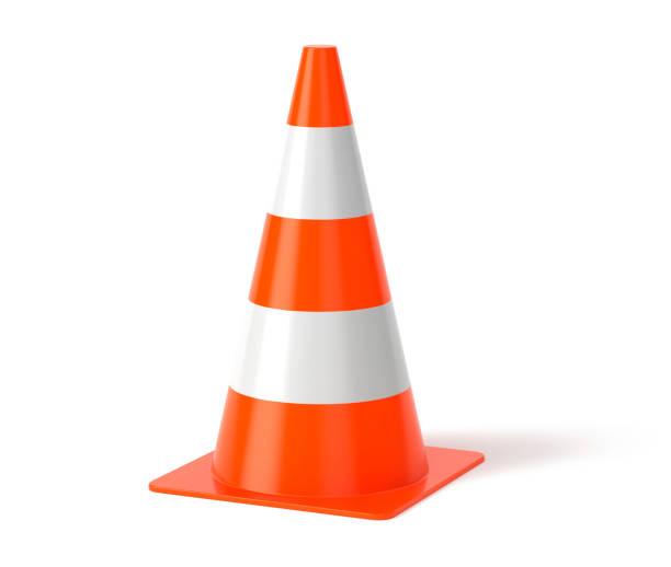 traffic cone 3d rendering - weißer hintergrund stock-fotos und bilder