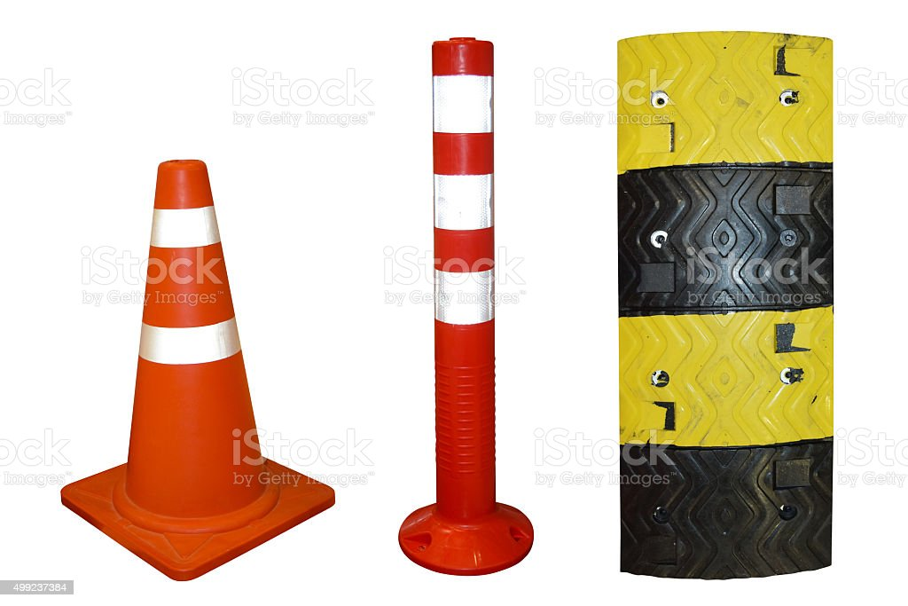 Traffic cone and Traffic Pole and Plastic speed bumps stock photo