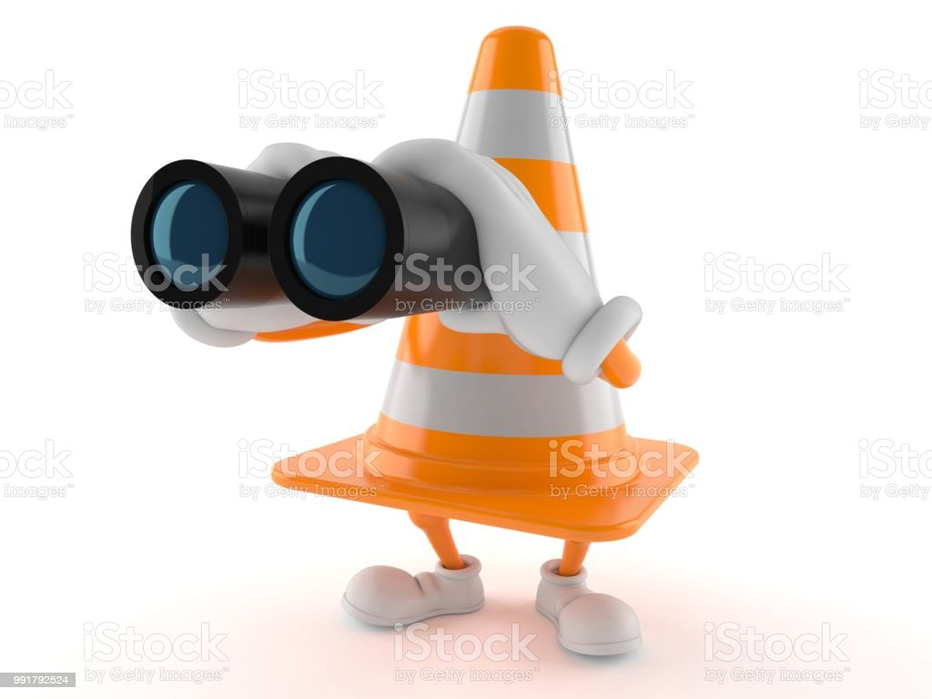 Traffic cone character looking through binoculars stock photo