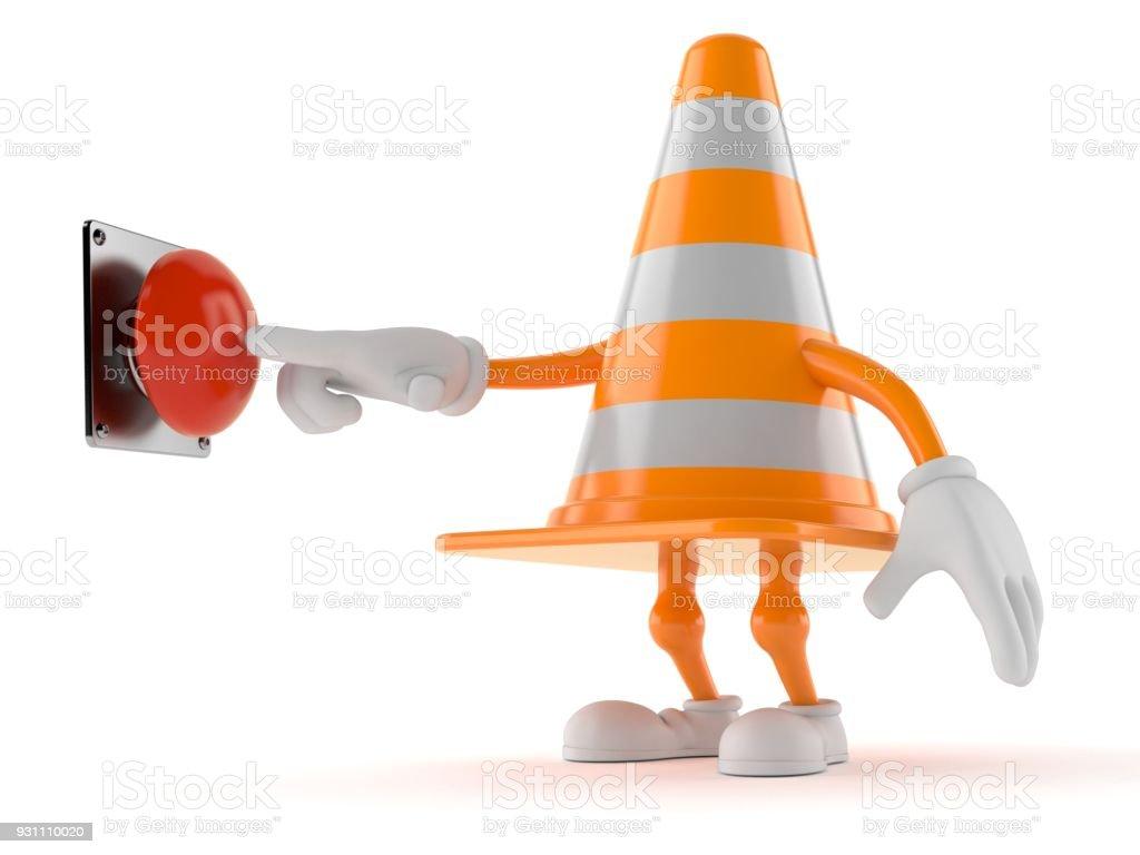 Trafik koni karakter itme düğmesini - Royalty-free Aciliyet Stok görsel