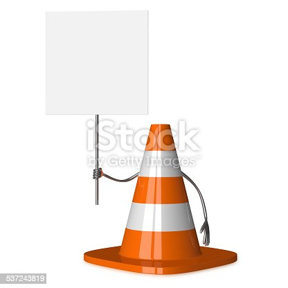 istock Traffic cone character with placard 537243819
